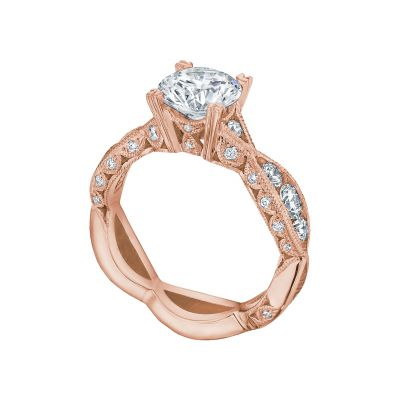 Tacori 2644RD7512-PK Rose Gold Round Unique Style Engagement Ring angle