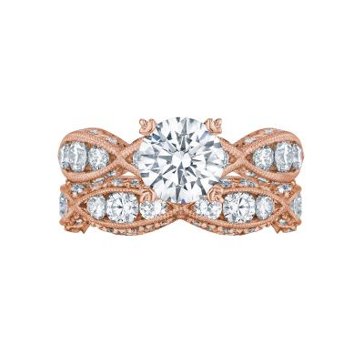 Tacori 2644RD7512-PK Rose Gold Round Unique Style Engagement Ring set