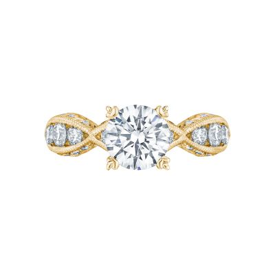 Tacori 2644RD7512-Y Classic Crescent Yellow Gold Round Engagement Ring
