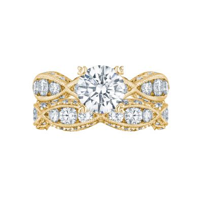Tacori 2644RD7512-Y Yellow Gold Round Vintage Style Engagement Ring set