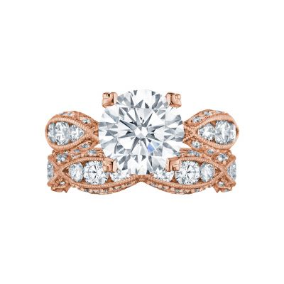 Tacori 2644RD934-PK Rose Gold Round Twist Shank Engagement Ring set