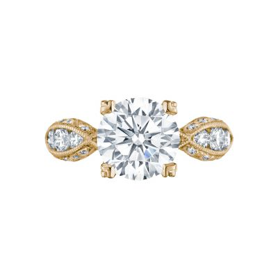 Tacori 2644RD934-Y Classic Crescent Yellow Gold Round Engagement Ring