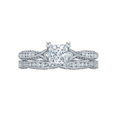 Tacori 2645PR White Gold Princess Cut Twist Shank Engagement Ring set