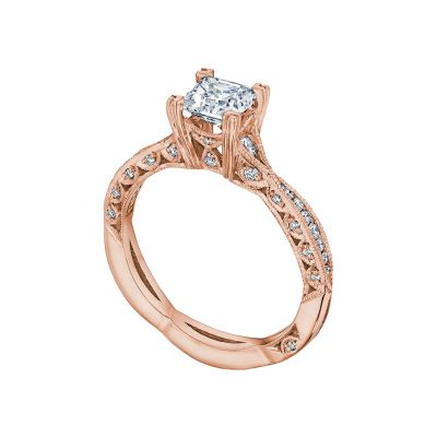 Tacori 2645PR512-PK Rose Gold Princess Cut Eternity Style Engagement Ring angle