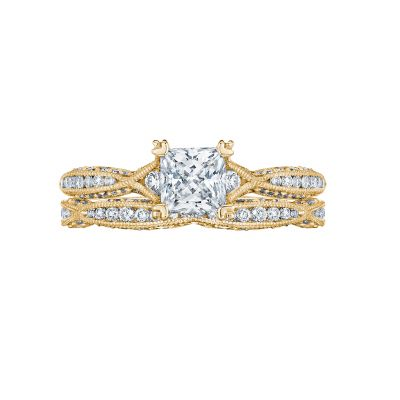 Tacori 2645PR512-Y Yellow Gold Princess Cut Infinity Band Engagement Ring set