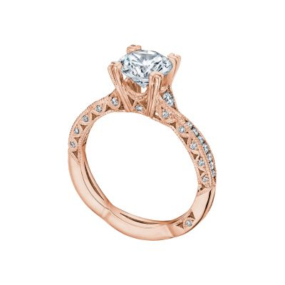 Tacori 2645RD6512PK Rose Gold Round Twist Shank Engagement Ring angle