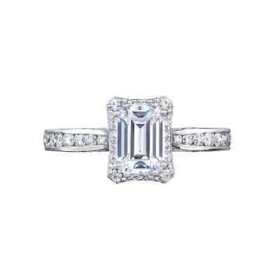 Tacori 2646-25EC Dantela White Gold Emerald Cut Engagement Ring