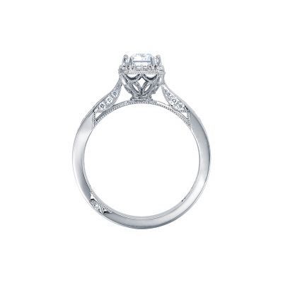 Tacori 2646-25EC White Gold Emerald Cut Engagement Ring side