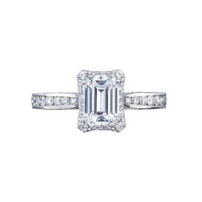 Tacori 2646-25EC7X5 Dantela Platinum Emerald Cut Engagement Ring