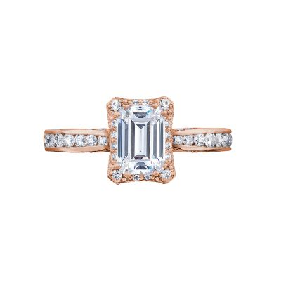 Tacori 2646-25EC7X5-PK Dantela Rose Gold Emerald Cut Engagement Ring