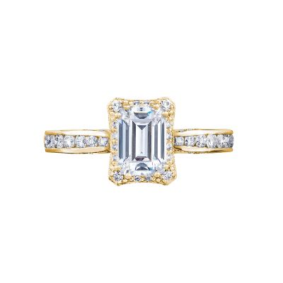 Tacori 2646-25EC7X5-Y Dantela Yellow Gold Emerald Cut Engagement Ring