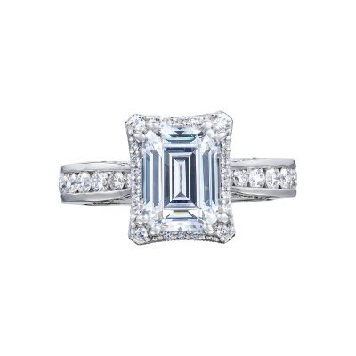 Tacori 2646-35EC Dantela White Gold Emerald Cut Engagement Ring