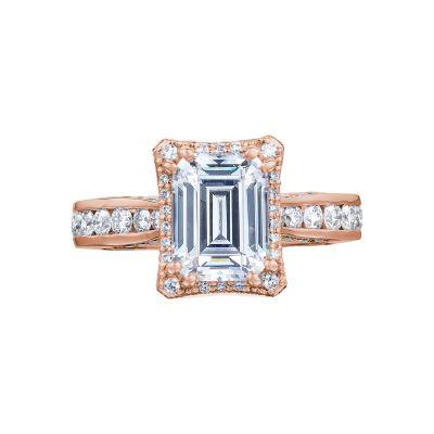 Tacori 2646-35EC85X65-PK Dantela Rose Gold Emerald Cut Engagement Ring