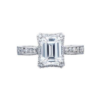 Tacori 2646-3EC Dantela White Gold Emerald Cut Engagement Ring