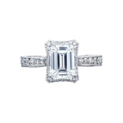 Tacori 2646-3EC75X55 Dantela Platinum Emerald Cut Engagement Ring