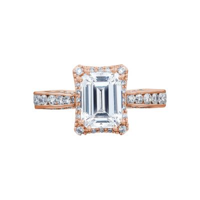 Tacori 2646-3EC75X55-PK Dantela Rose Gold Emerald Cut Engagement Ring