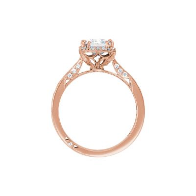 Tacori 2646-3EC75X55-PK Rose Gold Emerald Cut Engagement Ring side