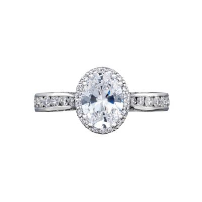 Tacori 2646-3OV85X65 Dantela Platinum Oval Engagement Ring