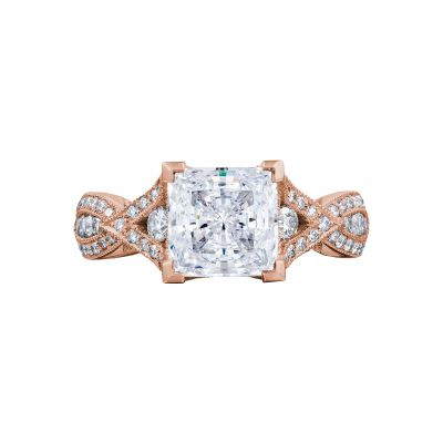 Tacori 2647PR7-PK Ribbon Rose Gold Princess Cut Engagement Ring
