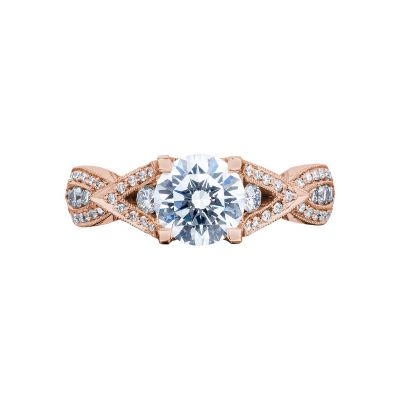 Tacori 2647RD65-PK Ribbon Rose Gold Round Engagement Ring