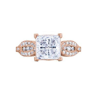 Tacori 2648PR55-PK Ribbon Rose Gold Princess Cut Engagement Ring