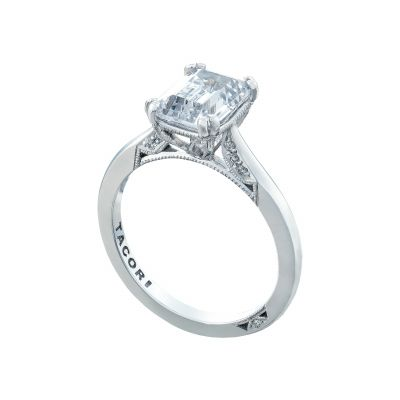 Tacori 2650EC White Gold Emerald Cut Solitaire Engagement Ring angle