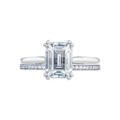 Tacori 2650EC White Gold Emerald Cut Solitaire Engagement Ring set