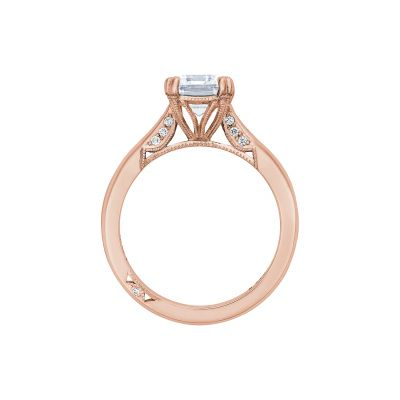 Tacori 2650EC85X65-PK Rose Gold Emerald Cut Engagement Ring side