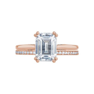 Tacori 2650EC85X65-PK Rose Gold Emerald Cut Solitaire Engagement Ring set