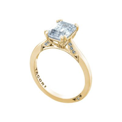 Tacori 2650EC85X65-Y Yellow Gold Emerald Cut Solitaire Engagement Ring angle