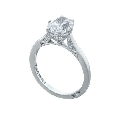 Tacori 2650OV White Gold Oval Solitaire Engagement Ring angle