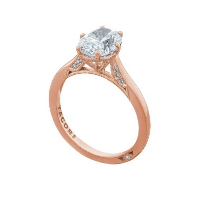 Tacori 2650OV9X7-PK Rose Gold Oval Solitaire Engagement Ring angle