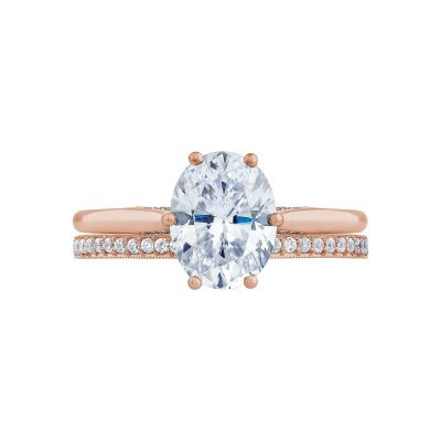 Tacori 2650OV9X7-PK Rose Gold Oval Solitaire Engagement Ring set
