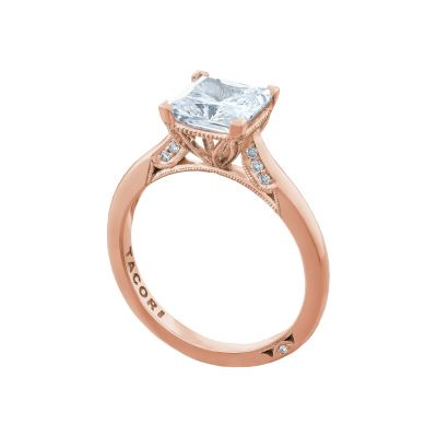 Tacori 2650PR7-PK Rose Gold Princess Cut Solitaire Engagement Ring angle