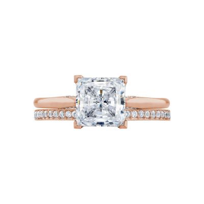 Tacori 2650PR7-PK Rose Gold Princess Cut Solitaire Engagement Ring set