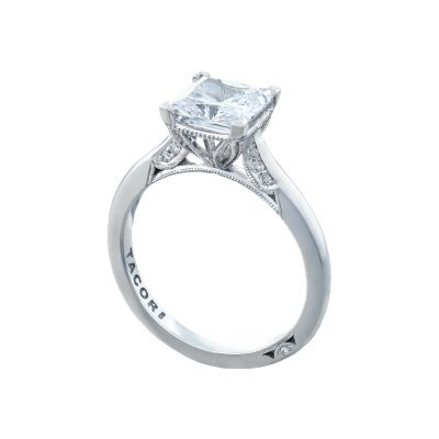 Tacori 2650PR7 Platinum Princess Cut Solitaire Engagement Ring angle