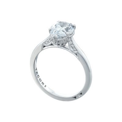 Tacori 2650PS White Gold Oval Solitaire Engagement Ring angle