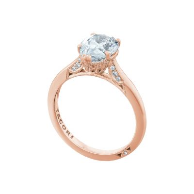 Tacori 2650PS10X7-PK Rose Gold Oval Solitaire Engagement Ring angle