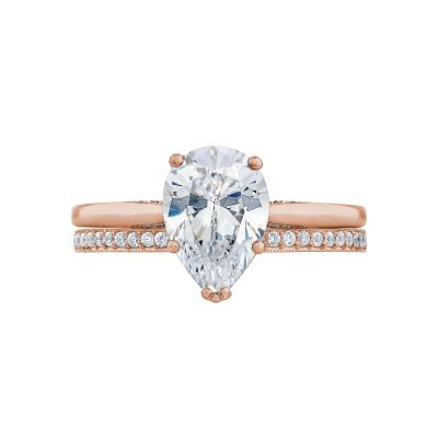 Tacori 2650PS10X7-PK Rose Gold Oval Solitaire Engagement Ring set