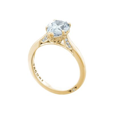 Tacori 2650PS10X7-Y Yellow Gold Oval Solitaire Engagement Ring angle