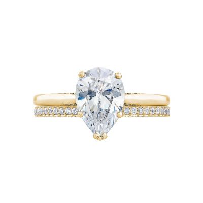 Tacori 2650PS10X7-Y Yellow Gold Oval Solitaire Engagement Ring set