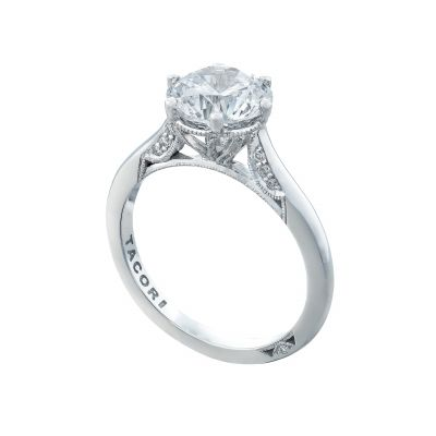 Tacori 2650RD White Gold Round Solitaire Engagement Ring angle