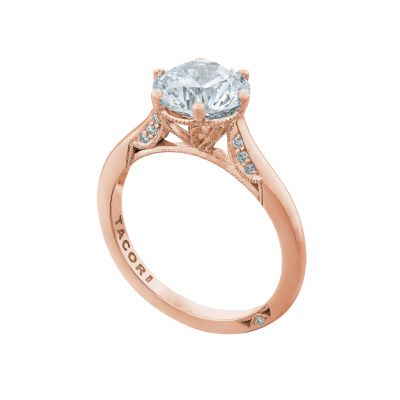 Tacori 2650RD8-PK Rose Gold Round Solitaire Engagement Ring angle