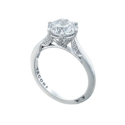 Tacori 2650RD8 Platinum Round Solitaire Engagement Ring angle