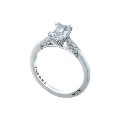 Tacori 2651EC White Gold Emerald Cut Art Deco Engagement Ring angle