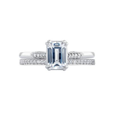 Tacori 2651EC White Gold Emerald Cut Art Deco Engagement Ring set