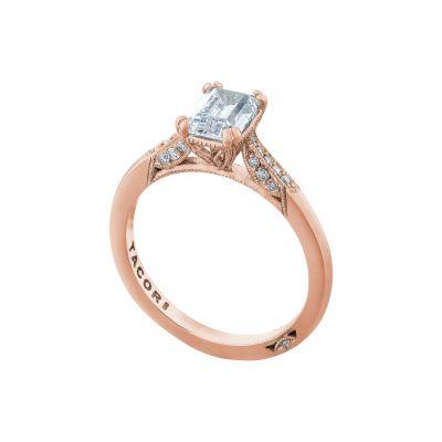 Tacori 2651EC7X5-PK Rose Gold Emerald Cut Classic Engagement Ring angle
