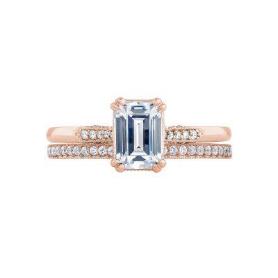Tacori 2651EC7X5-PK Rose Gold Emerald Cut Classic Engagement Ring set