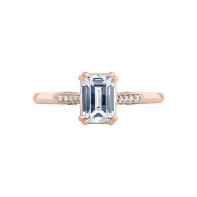 Tacori 2651EC7X5-PK Simply Tacori Rose Gold Emerald Cut Engagement Ring