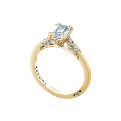 Tacori 2651EC7X5-Y Yellow Gold Emerald Cut Simple Engagement Ring angle